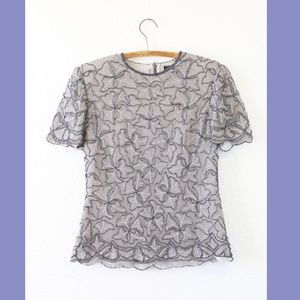 Vtg 80s floral Sequin Beaded Top gray silk blouse